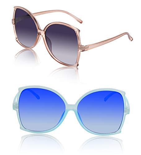 Women's Oversized Sunglasses Super Transparent 2 Pack Grey Brown Smoke Rose Blue