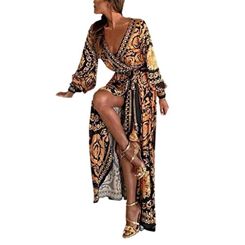 REYO Women Elegant Long Sleeve Dress Printed Deep V Neck Evening Cocktail Gowns Party Formal Long Maxi Dress