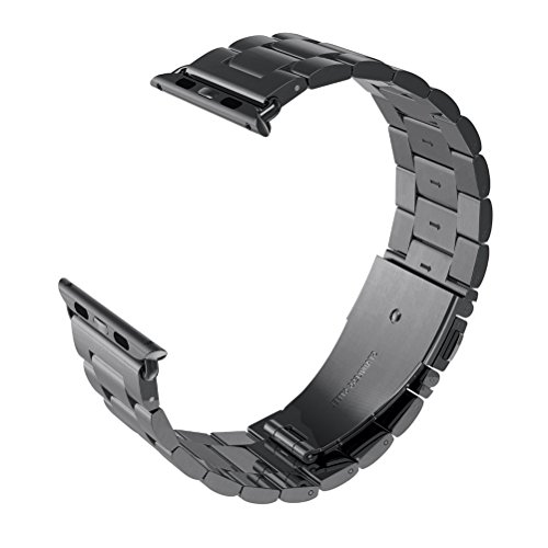 VIPPLUS Compatible for Apple Watch Band 42mm/44mm Stainless Steel Strap Bracelets Wristband with Durable Folding Metal Clasp for Apple Watch Series 4/3/2/1 Black
