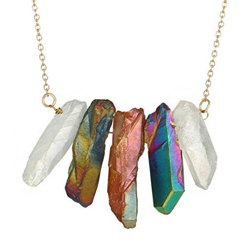 (Beuu 2018 Hot New Models Colorful Imitation Crystal Necklace Natural Stone Rock Gold Plated Quartz Pendant (C))