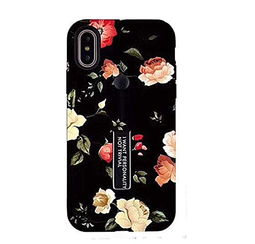 iPhone Xs Max Case with Finger Grip,YTamazing 3D Embossed Flowers Design Rugged Shockproof Slim Fit Dual Layer Finger Ring Loop Strap Case with Finger Strap for Apple iPhone Xs Max (Red Flowers)