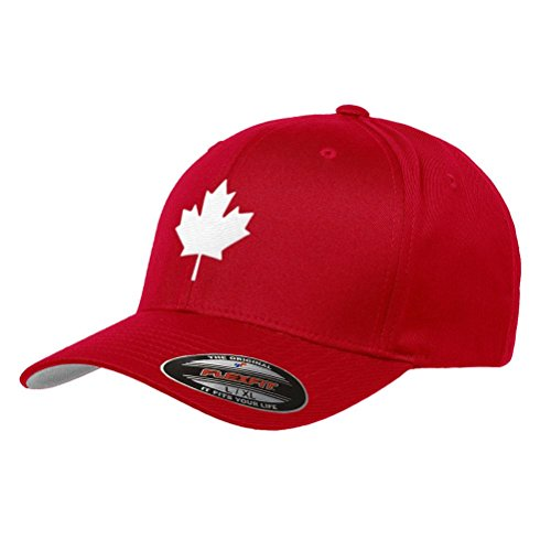 Canada Maple Leaf Flag Hat Flexfit Premium Classic Yupoong Wooly Combed Canadian Hat 6277 - L/XL/Red (Canada Toronto Hat)