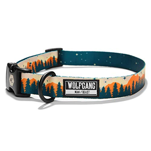 Wolfgang Man & Beast Premium USA Webbing Dog Collar, Overland Print, Medium (1 Inch x 12-18 Inch)
