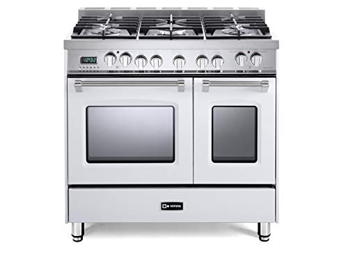 Verona Prestige VPFSGE365DW 36 inch. Dual Fuel Range 5 Sealed Burners Double Oven Convection Storage Drawer White ()