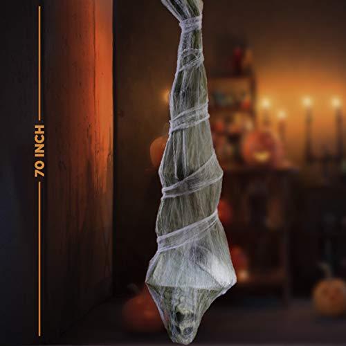 Halloween Decorations Props Sale (Prextex Halloween 70-Inch Hanging Cocoon Corpse for Halloween Outdoor Decorations - Large Dead Body Cocoon Corpse for Spooky Scary Halloween Decorations for Haunted House or Graveyeard Scene)
