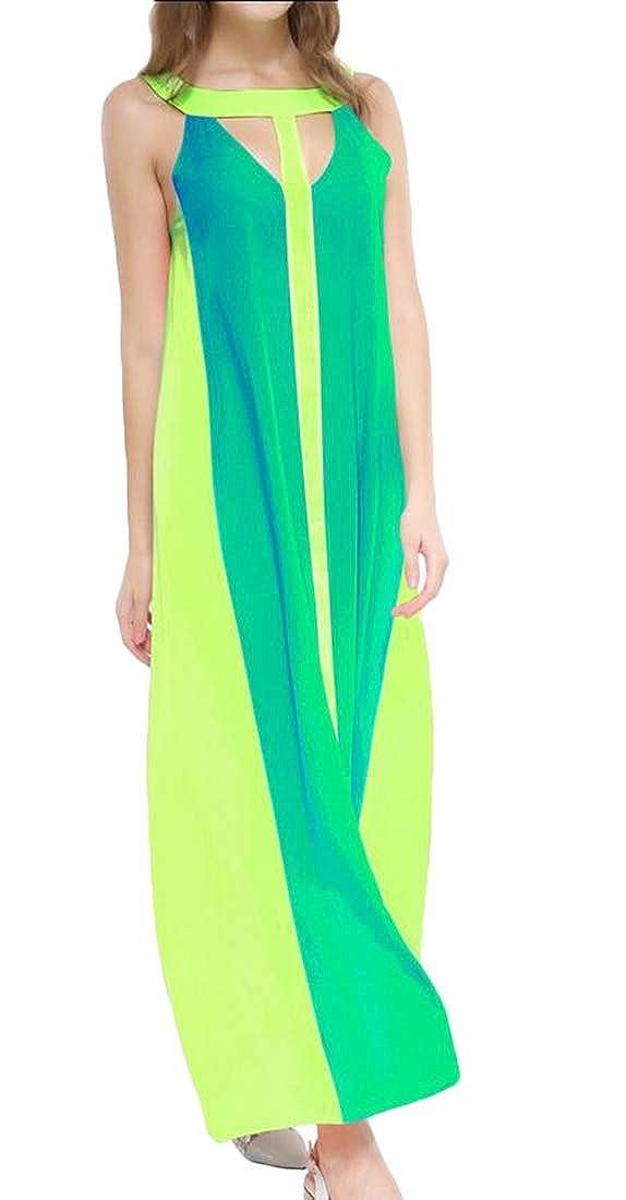 omniscient Women Striped Color Block Striped Spaghetti Strap Maxi Dress