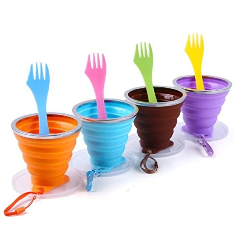 GDLF Collapsible Cup Set with 4 Reusable Sporks, Folding Cup for Coffee Water Drinking, Portable Foldable Cup with Lid for Camping Hiking Backpacking Travel, Silicone BPA Free 9.22oz by GDLF