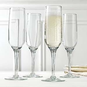 Magnificent Sparkling Crystal Glass Champagne Glasses / Wedding Flutes ~ Set of 4 ~ 6.75 oz