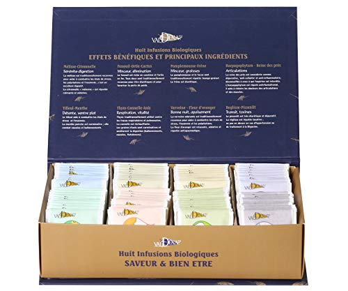 Valdena's Teas - Organic Herbal Variety Tea Box,8 Blends,10 count each(80 Tea Bags in (Lemon Verbena Medicinal)