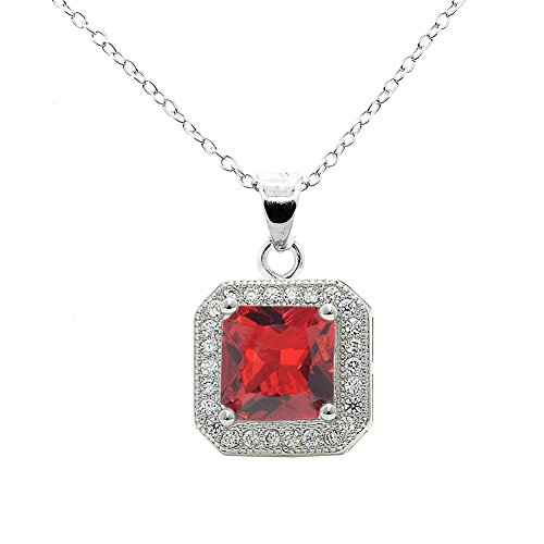 (Cate & Chloe Londyn 18k White Gold Princess Red Ruby Gemstone CZ Halo Pendant Necklace - Silver Halo Cluster Necklace w/Solitaire Round Cut Gemstone - Wedding Anniversary Jewelry)