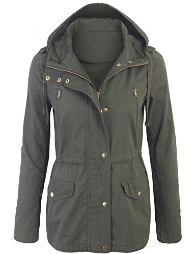 Kogmo Womens Zip Up Military Anorak Safari Jacket with Hoodie-M-OLIVE