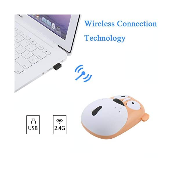 3c Light Wireless Mouse Cute Animal Dog 24ghz Wireless Mouse Mini Rechargeable Optical Mice Cartoon Computer Mouse 3 Buttons For Laptop Desktop Pc Computer Yellow