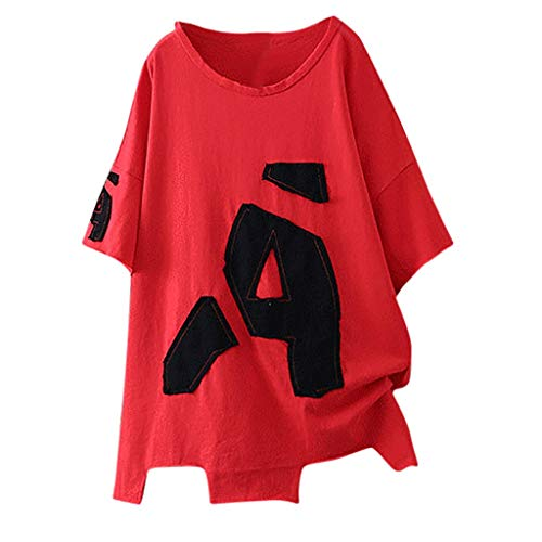 (Sunhusing Ladies Summer New Simple Casual Solid Color Round Neck Short Sleeve Letter Print Top T-Shirt)