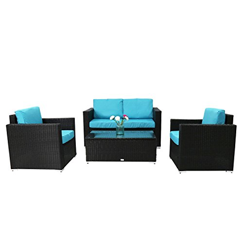 Outdoor Furniture Set 4 Pcs. Sofa Coffee Table Steel Frame Garden Deck Gray New, Patio Set Garden Lawn (Sofa Shops Leeds)