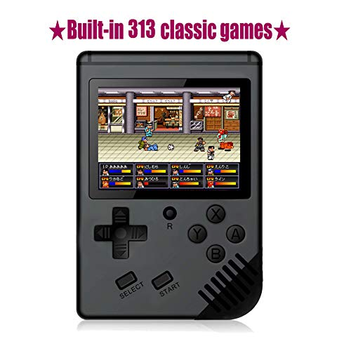 Xinguo Handheld Game Console, Portable Video Game 3 Inch HD Screen 313 Classic Games,Retro Game Console Can Play on TV, Good Gifts for Kids to Adult. (Dark - Games Handheld 100