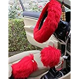 """Yontree Winter Warm Faux Wool Handbrake Cover Gear Shift Cover Steering Wheel Cover 14.96""""x 14.96"""" 1 Set 3 Pcs (Red)"""