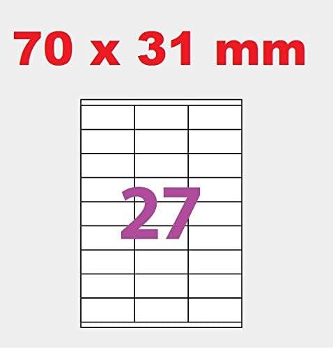 20 A4-Blatt 27 Aufkleber 70 x 31 mm Klebepapier Inkjet und Laseretikett Etikett