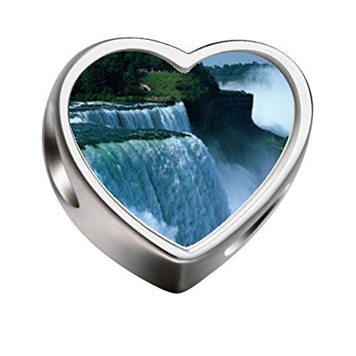FERVENT LOVE Travel Niagara Falls Heart Photo Charm Beads -
