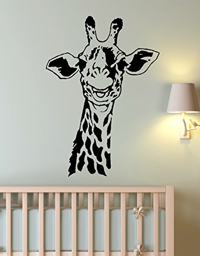 [Stickerbrand© Animals Vinyl Wall Art African Safari Giraffe Wall Decal Sticker - Black, 30