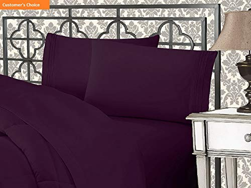 Mikash New Soft 1500 Thread Count Wrinkle & Fade Resistant Egyptian Quality Ultra Soft Luxurious 5-Piece Bed Sheet Set with Deep Pockets, Split King Purple | Style 84597611