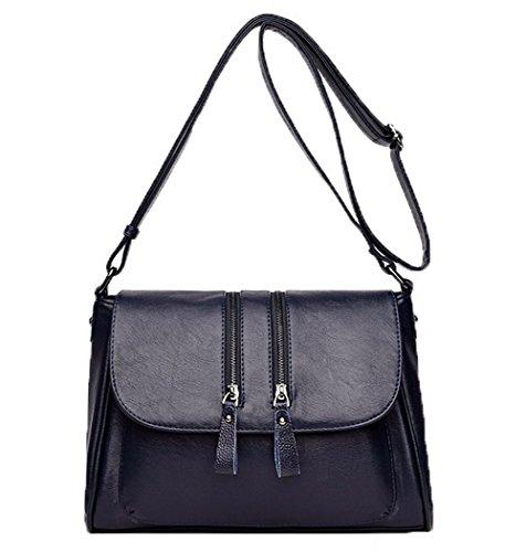 VogueZone009 Femme Achats Des sacs Zippers Pu Cuir Sacs à bandoulière,CCAFBP180873 Bleu Foncé