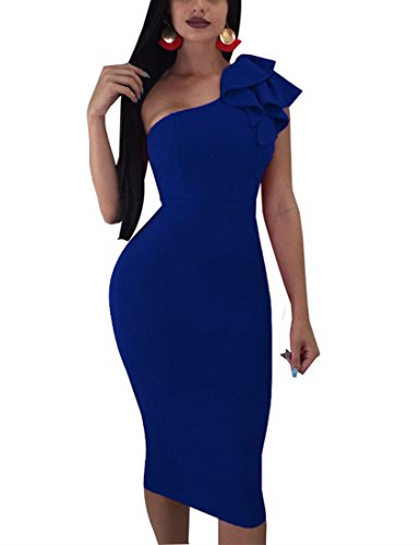 (Mokoru Women's Sexy Ruffle One Shoulder Sleeveless Bodycon Party Club Midi Dress, XX-Large, Dark Blue)
