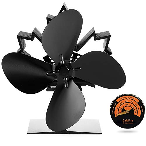 [ 2 Years Warranty ] Heat Powered Wood Stove Fan 50 °C Fast Started Fireplace Fan Silent Small Log Burner Fan + Fireplace Accessories Stove Thermometer Magnetic V466 ()