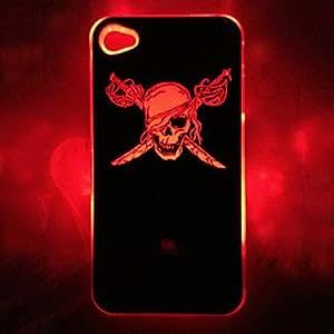 New Sense Skull With Pole Pattern Flash Light LED Skull Color Changing Hard Case for iPhone 4/4S --- COLOR:Black