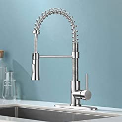 Farmhouse Kitchen KINGO HOME Lead Free Commercial Farmhouse Pull Down Sprayer Brushed Nickel Stainless Steel Single Lever Handle Spring… farmhouse sink faucets