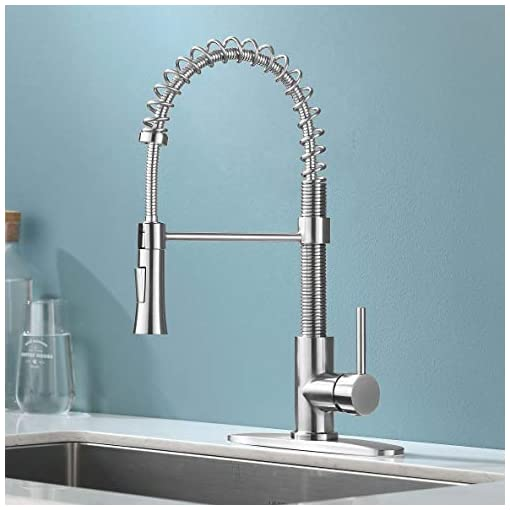 Farmhouse Kitchen KINGO HOME Brushed Nickel Pull Down Kitchen Faucet with Sprayer, Modern High Arc Single Handle Utility Sink Faucet with… farmhouse sink faucets