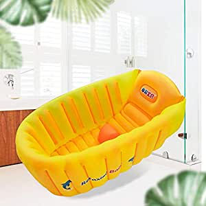 Inflatable Baby Bath Tub, Anti- Slip Toddler Bath Seat, Mini Swimming Pool for Baby,Baby Travel Accessories, Green & Yellow Bathroom Accessories for 0-3 Years Old Baby.