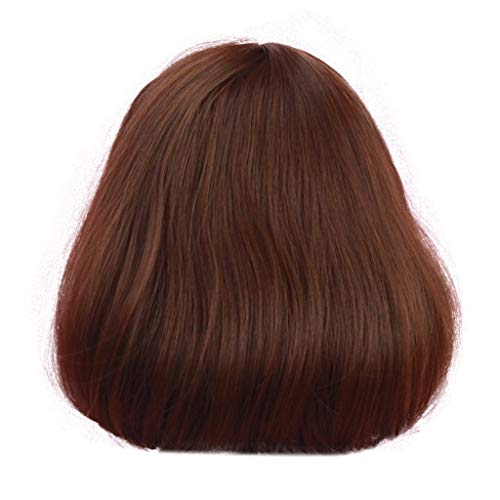 Wig Party Synthetic Short Brown Bobo Wigs Heat Resistant Hairpiece Fiber Daily ???? nikunLONG -