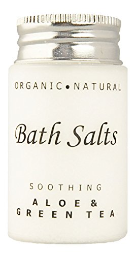Soothing Aloe and Green Tea Bath Salts, Single Use Hospitality/Travel Size Jar (Case of 300) by Terra Pure Green Tea