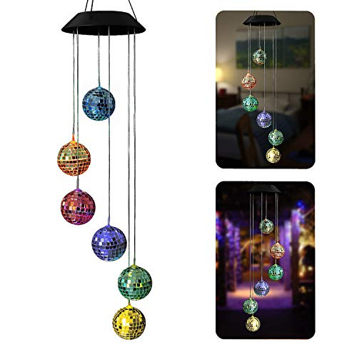 AceList Color-Changing Solar Powered Disco Mirror Ball Wind Chime Wind Moblie LED Light, Gzero Spiral Spinner Windchime Portable Outdoor Chime for Patio, Deck, Yard, Garden, Home,