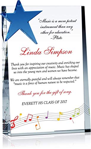 Personalized Crystal Retirement Award or End of Year Gift Plaque for Male or Female Music Teacher, Band Director, Choir Director from Class, Customized with Teacher, School and Class Name (L - 11