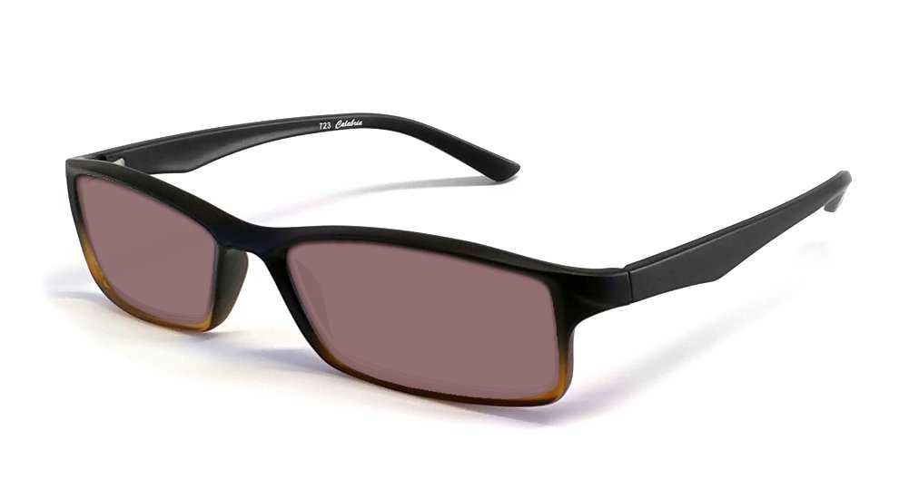 Calabria Reading Glasses - 723T Flexie Reading Sunglasses in Black-Brown +2.50 by Calabria