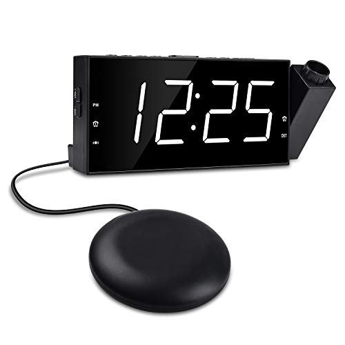 "Projection Ceiling Alarm Clock, OnLyee Loud Dual Alarm Clock Bed Shaker Heavy Sleepers, Bedrooms, 7"" Large Digital Clock,5 Dimmer Options, USB Charging Port, Battery Back up"