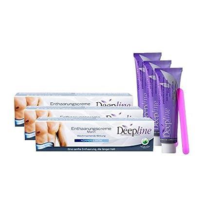 3 cremas depilatorias de Deepline para hombre quemantienen la piel suave, flexible y lisa, también es ideal para la zona genital