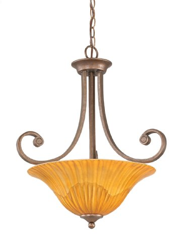 (Toltec Lighting 254-BRZ-58619 Curl Three-Bulb Uplight Pendant Bronze Finish with Tiger Glass, 16-Inch)