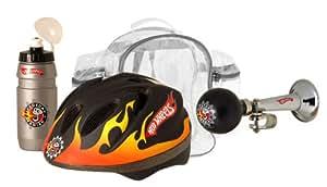 Stamp KH800502 - Mochila, casco, botella y claxon para bicicleta con diseño de Hot Wheels