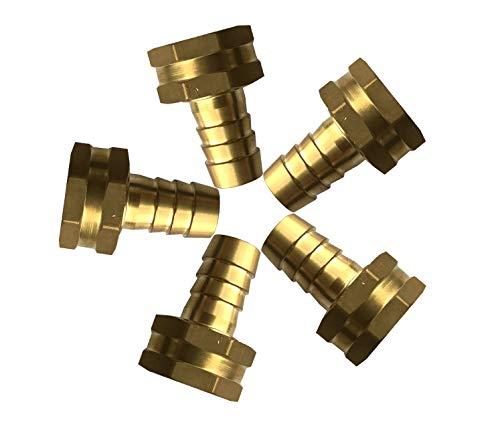 (sky-w Brass Octagon Thread Head Garden Hose Swivel Connector(Pack of 5) (5/8