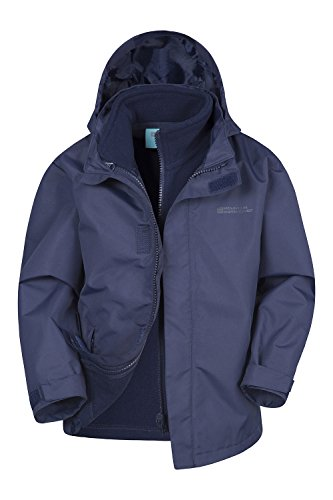 Mountain Warehouse Fell 3-in-1-Kinder wasserdichte Regenjacke mit Kapuze und abnehmbarer Fleecejacke Jungen Mädchen Marineblau 128