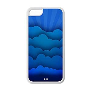 Cool iPhone 5C White Case,Blue Clouds Customized Soft Durable TPU Back Case for iPhone 5C