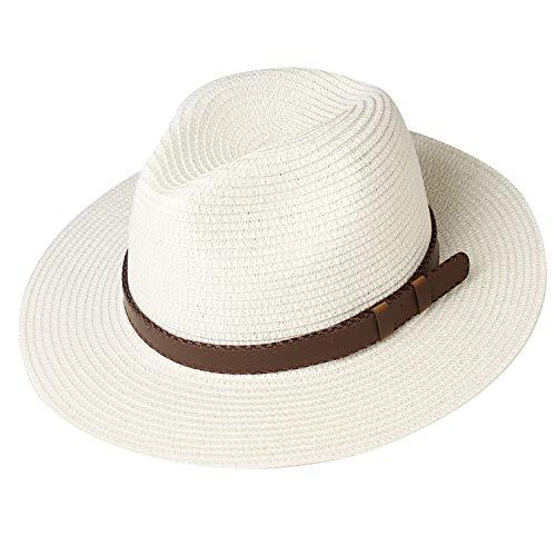 FURTALK Panama Hat Sun Hats for Women Men Wide Brim Fedora Straw Beach Hat UV UPF Medium Size (22'-22.8'), 3-Ivory with Leather Belt