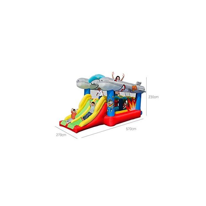 41Z 9aFnCuL El castillo hinchable hará que todos los niños felices, lo que traerá mucha felicidad a sus hijos, pueden compartir el tiempo de juego valioso con los amigos. Tamaño de medios: Oxford tela respetuosa del medio ambiente, de PVC; 570x270x230cm; castillos hinchables, bolsa de agua y 30 bolas juguetes incluidos. ultiple deportes combinados con diseño especial para los ancianos 3-10: escalada, toboganes, área, aro de baloncesto, piscina de bolas y el océano saltando bajo este gorila inflable tiene muchos deportes diferentes que mantendrán chico de 3 años de edad, para encontrar su apretada 10favorito.