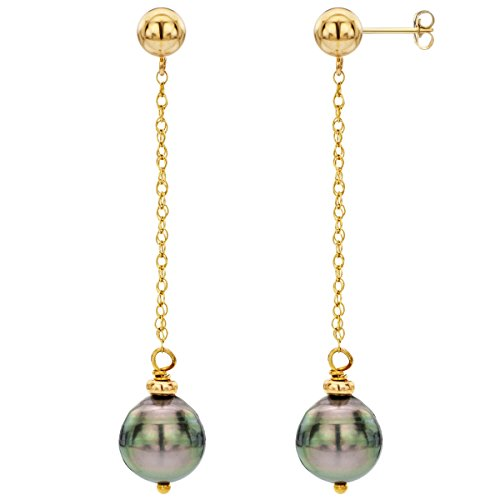 14k Yellow Gold 8-10mm Black Baroque Tahitian Pearl Stud Dangle Earrings. ()