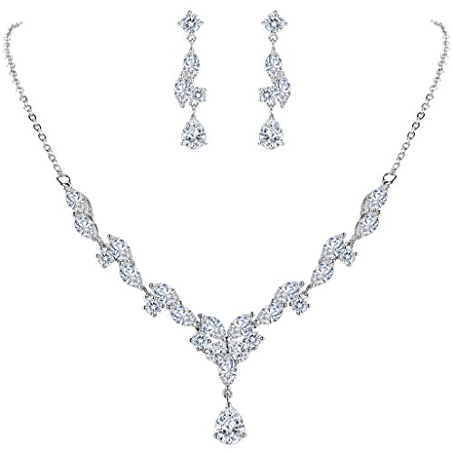 Marquise White Charms (BriLove Women's Wedding Bridal CZ Marquise Shaped Leaf Butterfly Y-Necklace Pierced Dangle Earrings Set)