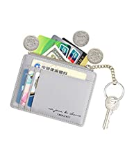 Women Slim Leather Card Case Holder Small Wallet Cute Coin Purse Girl Mini Wallet with Keychain