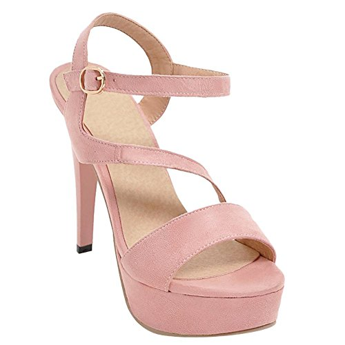 Mee Shoes Women's Chic Stiletto Buckle Platform Sandals Pink