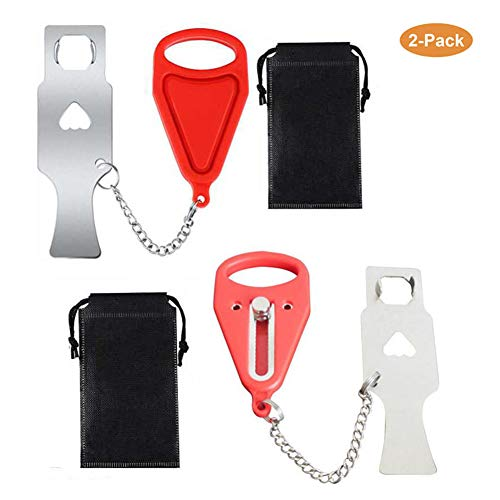 ((Set of 2) Portable Door Lock, Travel Lock, AirBNB Lock, School Lockdown Lock,Safety Lock for Travel,Home,Apartment Living,Hotel and More)